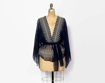Vintage 70s Boho TOP / 1970s Embroidered Sheer Navy Angel Sleeve Plunging V-Neck Belted Blouse