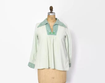 Vintage 70s Boho Mint TOP / 1970s 2-Tone Mint Green Embroidered Hippie Indian Cotton Blouse