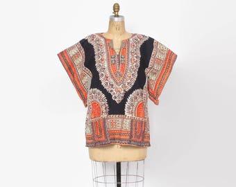 Vintage 70s DASHIKI TOP / 1970s Soft Draped Ethnic Hippie Cotton Pointed Sleeve Tunic Shirt
