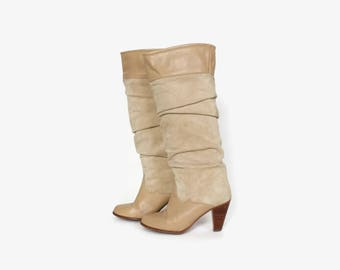 83bfd3cc2 Vintage 80s Tall Leather BOOTS / 1980s Ivory Tan Leather Slouch Boots 8