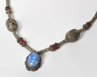 Vintage 70s Ethnic NECKLACE / 1970s Silver Tribal Gypsy Blue Lapis Bohemian Necklace