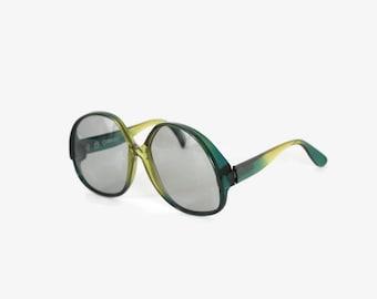 Vintage 70s Carerra SUNGLASSES / 1970s Oversized Boho Green Sunnies
