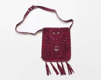 Vintage 70s Boho PURSE / 1970s Custom Made Fringed Fuchsia Leather Hippie Shoulder Bag