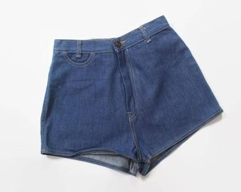 Vintage 70s JEAN SHORTS / 1970s High Waisted Blue DENIM Buckleback Hot Pants xs - s