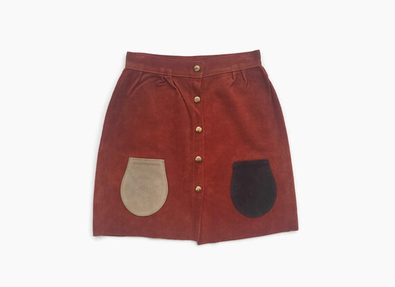Vintage 60s Suede Mini Skirt / 1960s High Waist Le