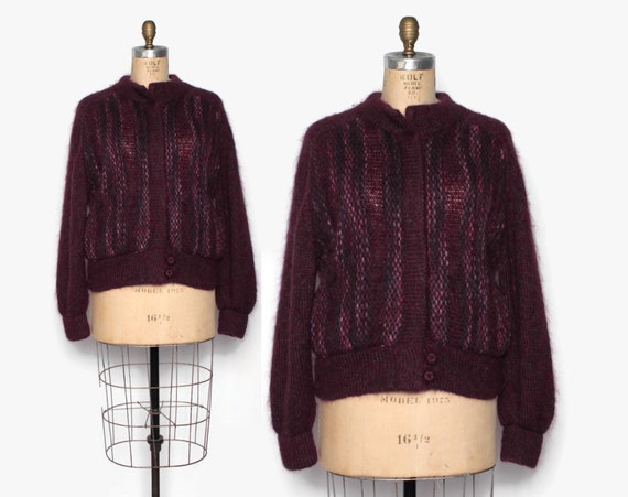 Vintage 90s Mohair Sweater Jacket / 1990s Plum But