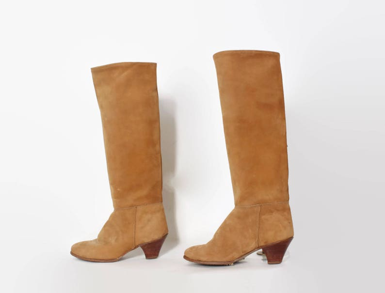 abcf62e2592fe Vintage 80s Tall Leather BOOTS / 1980s Blonde Soft Leather Knee High Boots 7