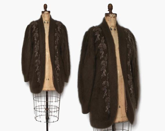 Vintage 90s Beaded Angora Sweater / 1990s Oversize