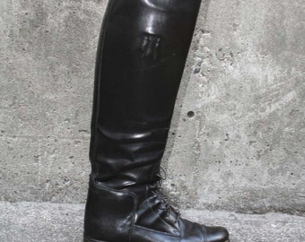 RIDING BOOTS Dehner's Custom Tall Black Leather Lace Ups, 8