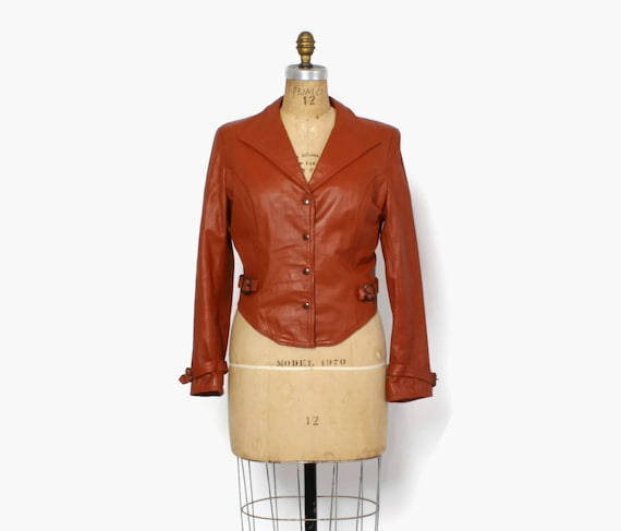 Vintage 70s LEATHER JACKET / 1970s Fitted Cropped