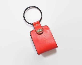 Vintage 60s Mod Purse / 1960s Black & Red Small Bangle Wristlet Wallet Bag