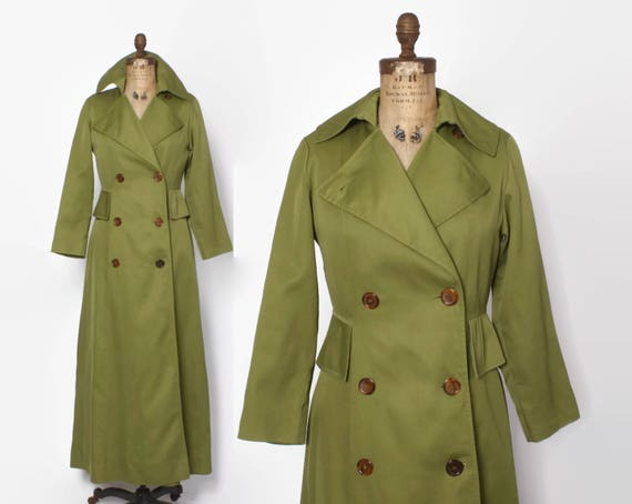 Vintage 70s TRENCH Coat / 1970s Olive Green Prince