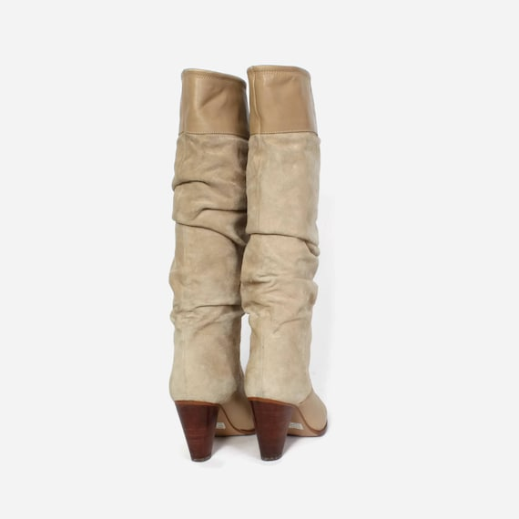 15be95d1290a4 Vintage 80s Tall Leather BOOTS / 1980s Ivory Tan Leather Slouch Boots 8