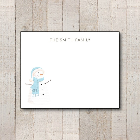 snowman stationery winter stationary holiday thank you etsy