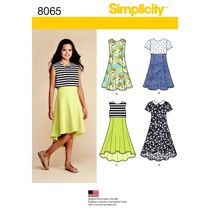 Plus Size Girls\' Dresses - Simplicity 8065 - New Sewing Pattern, Sizes  8-1/2, 10-1/2. 14-1/2, and 16-1/2