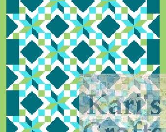 LeMoyne Star Variation Croquilt C2C Corner to Corner Afghan Blanket PDF Pattern - Graph + Written Instructions-Instant Download
