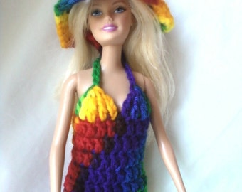 4d3a7710 Barbie or Fashion Doll Halter Dress with Hat - Rainbow - Red Orange Yellow  Green Blue Purple