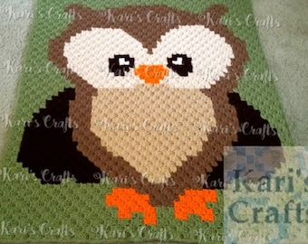 Hand Crocheted Brown Owl Baby, Toddler or Lap Graphghan Afghan Blanket Throw - Ready to ship