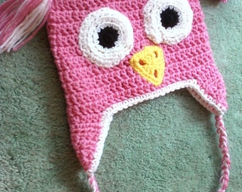 Crocheted Children's Owl Earflap Hat - Perfect Pink