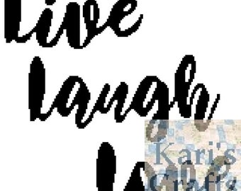 Live Laugh Love Script Afghan PDF Pattern for sc, knit or tss - Graph + Written Instructions - Instant Download