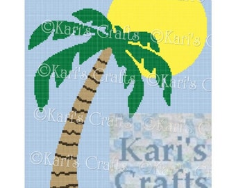 Palm Tree and Sun Afghan Blanket PDF Pattern GRAPH ONLY - Instant Download
