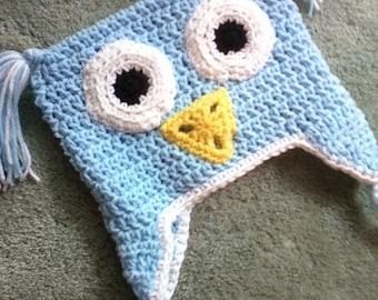 Crocheted Children's Owl Earflap Hat - Light Blue