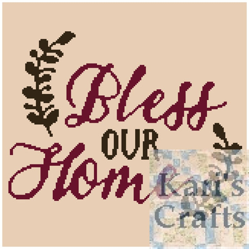 Bless Our Home Afghan Pdf Pattern For Single Crochet Tunisian Etsy