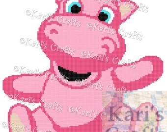 Pink Baby Hippo Afghan Blanket PDF Pattern for single crochet or knit or tss - Graph + Written Instructions - Instant Download