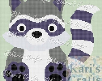 Baby Raccoon Afghan Blanket PDF Pattern for single crochet, knit or tss - Graph + Written Instructions - Instant Download