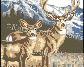 Deer in the Mountains Afghan PDF Pattern Graph + Written Instructions - Instant Download