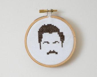 Mini Ron Swanson cross stitch PATTERN