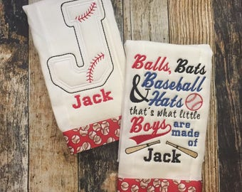 Baseball Personalized Boys Burp Cloth Set  - 2 Embroidered Burp Cloths - Balls, Bats & Baseball Hats are What Little Boys are Made Of