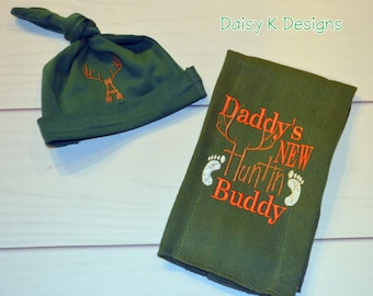 c75dfe93d89 Hunting Burp Cloth and Infant Knot Beanie - Hunter Green with Antlers Set