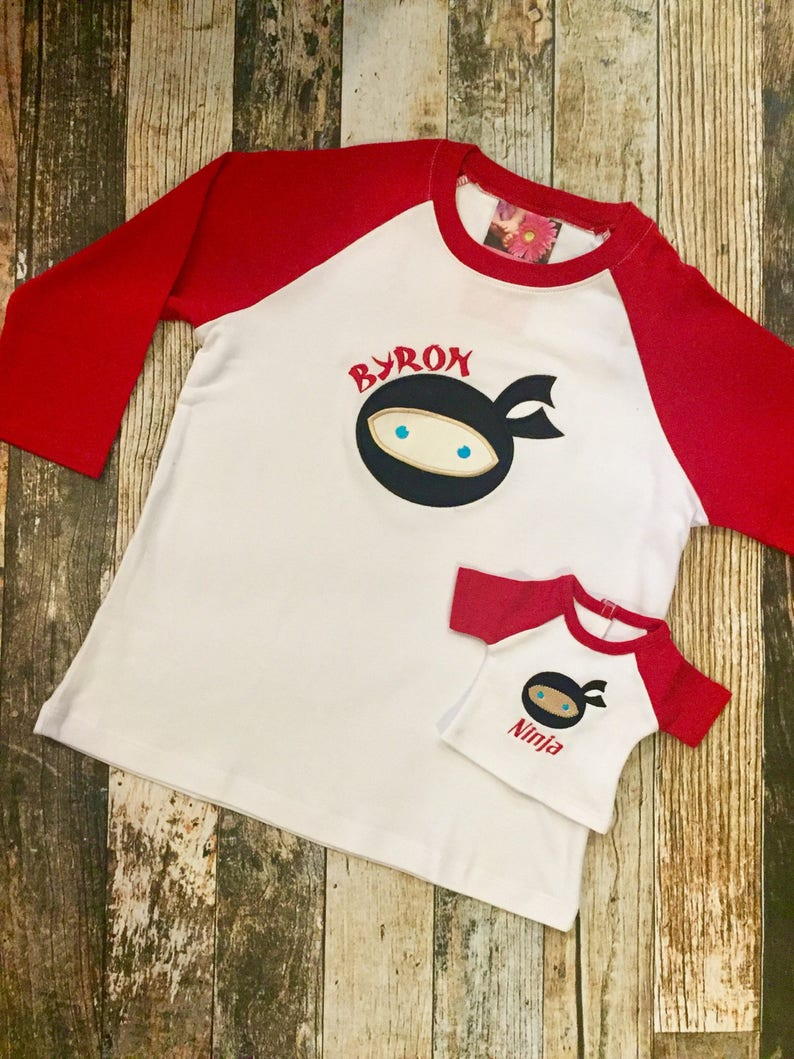 Matching Boy's and Doll's Raglan Shirt  Personalized image 0