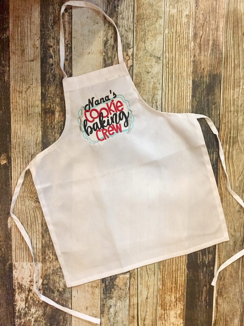 Grandma/'s or Mom/'s Cookie Crew Personalized Child/'s Apron Choose Your Colors and Fabrics Nana/'s Cookie Baking Crew