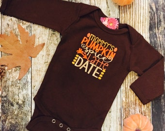 Mommy's Pumpkin Latte Date Halloween Fall Personalized Girls or Boys Child's Baby's T Shirt or Bodysuit