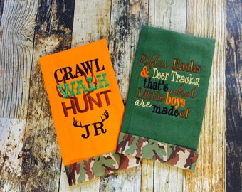 Crawl Walk Hunt Saying - Bucks, Trucks and Ducks are What Little Boys Are Made Of  - Personalized Hunting Burp Cloth Set