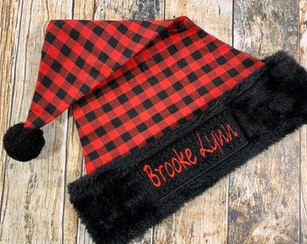 Personalized Buffalo Plaid Santa Hat OSFM Child - Red and Black Embroidered Christmas Hat