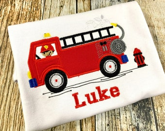 Fireman Themed Personalized Tshirt - embroidered fire truck