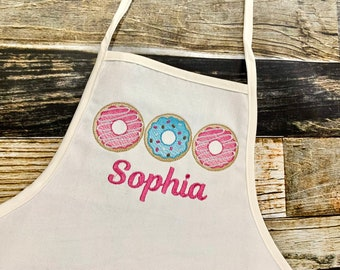 Donut Personalized Girl's Apron - Embroidered Doughnuts - Monogrammed Name
