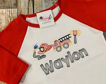 Fire Fighter Personalized Boy's Tshirt - Red and White Raglan Shirt