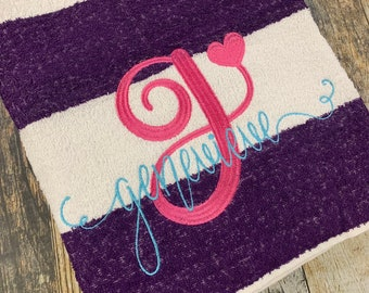 Monogrammed Beach Towels - Pink, Purple, Lime, Orange, Navy, or Turquoise - Embroidered Personalized Pool Towel