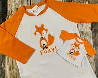 "Matching Boy's and Doll's Fox Raglan Shirt - Personalized Raglan Tshirt - Embroidered Top - 18"" Doll Clothes - Fox Shirts"