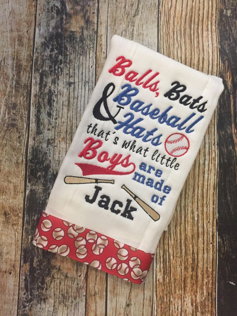 abd6d3a38f3e3 Baseball Personalized Boys Burp Cloth Set - 2 Embroidered Burp Cloths -  Balls, Bats & Baseball Hats are What Little Boys are Made Of