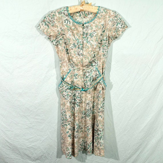 1950's Cotton Dress with Front Zipper Size Small
