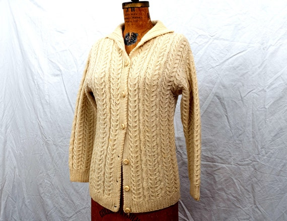Vintage Wool Cable Knit Cardigan Made in Ireland A