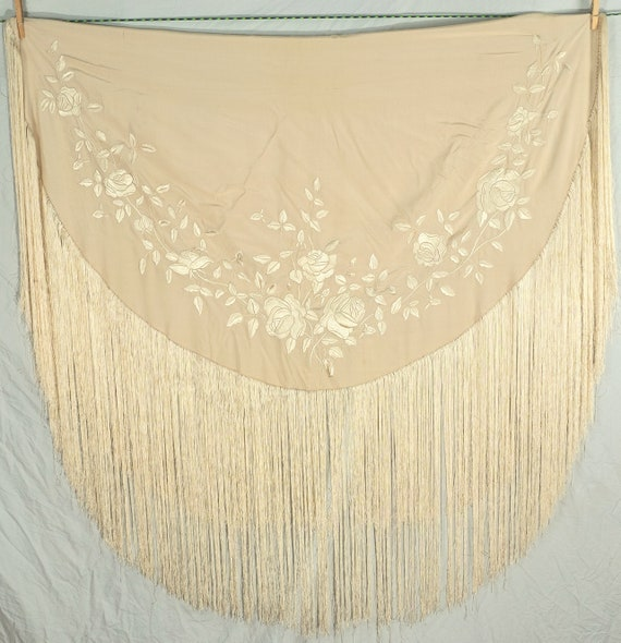Embroidered Antique Silk Round with Long Fringe -