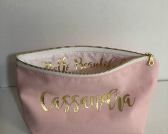 Personalized Cosmetic Bag 10 x 6 inch Bridesmaid Cosmetic Pouch , Cosmetic Bag , Bridesmaid Gift , MakeUp Bag , Blush Pink