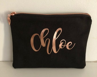 Bridesmaid Personalised Zippered Pouch/Name Pouch/Cosmetic Pouch/Wedding Gift/RoseGold Zipper with heart