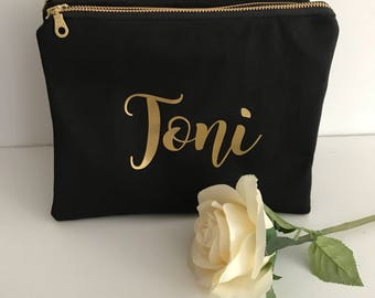 Personalised Zippered Pouch/Name Pouch/Cosmetic Pouch/Wedding Gift/Gold Zipper